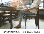 freelancer woman working using... | Shutterstock . vector #1116304661