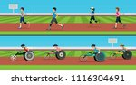 disabled runners compete in... | Shutterstock .eps vector #1116304691