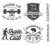 set of skateboard club badges.... | Shutterstock .eps vector #1116305957