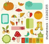 autumn cute elements set   for... | Shutterstock .eps vector #111631355