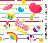 vector romantic love seamless...   Shutterstock .eps vector #1116323135