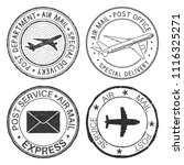 postmarks with airplane and... | Shutterstock .eps vector #1116325271