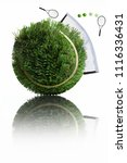 tennis ball made from grass... | Shutterstock . vector #1116336431