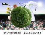 tennis ball made from grass... | Shutterstock . vector #1116336455