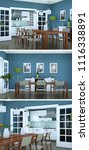 three views of modern blue... | Shutterstock . vector #1116338891