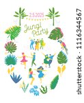 jungle party invitation... | Shutterstock .eps vector #1116344567