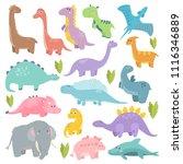 cute dinosaur illustration. set ...   Shutterstock .eps vector #1116346889