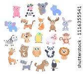 cute animals set. | Shutterstock .eps vector #1116355541