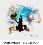 crowd fans at live concert | Shutterstock .eps vector #1116366014
