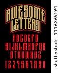 heavy metal alphabet. brutal... | Shutterstock .eps vector #1116366194