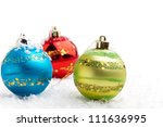 colorful christmas baubles on... | Shutterstock . vector #111636995
