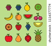 fruits and berries flat vector... | Shutterstock .eps vector #1116377774