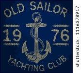 summer vintage anchor design... | Shutterstock . vector #1116378917