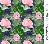 summer pink flowers for print | Shutterstock .eps vector #1116380171