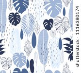hand drawn tropical plants.... | Shutterstock .eps vector #1116380174