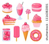 set of pink sweet food. donut ... | Shutterstock .eps vector #1116382001
