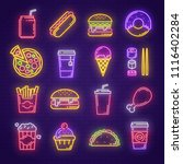 fast food and drink neon sign... | Shutterstock .eps vector #1116402284