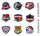 set of soccer football and... | Shutterstock .eps vector #1116412394
