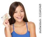 Woman holding euro money note. Pretty young model showing 50 euro bill. Closeup of gorgeous multi-ethnic Asian / Caucasian woman model isolated on white background. - stock photo
