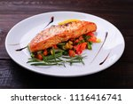 grilled salmon steak with...   Shutterstock . vector #1116416741