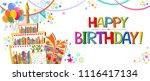 happy birthday card.... | Shutterstock .eps vector #1116417134
