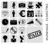 set of 22 business symbols of... | Shutterstock .eps vector #1116417461