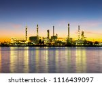 aerial view of twilight of oil... | Shutterstock . vector #1116439097