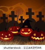 halloween pumpkin at graveyard... | Shutterstock .eps vector #1116439544