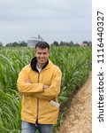 smiling handsome farmer with...   Shutterstock . vector #1116440327