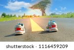 road and shoes. first step and... | Shutterstock . vector #1116459209