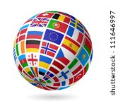 Flags Globe. Europe. Vector.