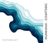 abstract blue paper cut vector... | Shutterstock .eps vector #1116472661
