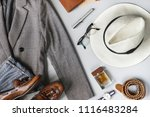 top view set of classic clothes ... | Shutterstock . vector #1116483284