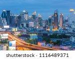 bangkok city with curve express ... | Shutterstock . vector #1116489371