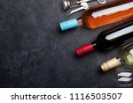 red  rose and white wine... | Shutterstock . vector #1116503507