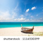 beach and fishing boat  koh... | Shutterstock . vector #1116530399