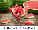 cuts of watermelon in bowl of... | Shutterstock . vector #1116536624