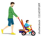 father and child on a tricycle... | Shutterstock .eps vector #1116539189