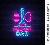 hookah bar neon sign vector....   Shutterstock .eps vector #1116540941