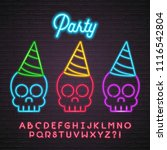 crazy skull icon with party hat ... | Shutterstock .eps vector #1116542804