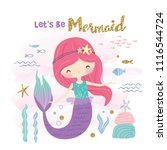 cute little mermaid and marine... | Shutterstock .eps vector #1116544724