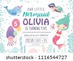kids birthday party invitation...   Shutterstock .eps vector #1116544727