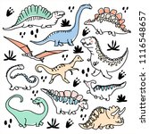 cute dinosaurs and tropic... | Shutterstock .eps vector #1116548657