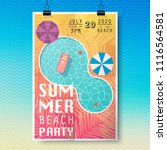 summer party poster with palm... | Shutterstock .eps vector #1116564581