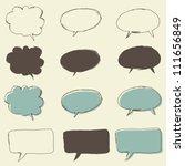 set of retro funky bubble speech | Shutterstock .eps vector #111656849
