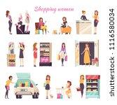 shopping women in different... | Shutterstock .eps vector #1116580034