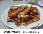 roasted chicken on wooden table ... | Shutterstock . vector #1116581819