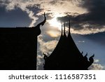 silhouette of wooden roof of... | Shutterstock . vector #1116587351