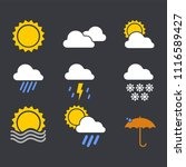 modern weather icons set. flat...   Shutterstock .eps vector #1116589427