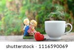 cup of coffee and red heart on... | Shutterstock . vector #1116590069